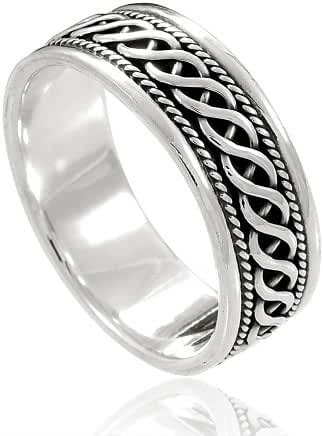 925 Sterling Silver Woven Celtic Knot Band Ring - Nickel Free